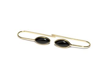 Black Onyx Gemstone and Brass Hook Earrings Gemstone Earrings Simple Earrings Modern Free UK Delivery Gift Boxed BHG1