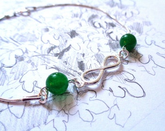925 sterling silver bracelet infinity jade beads dark green healing stone marriage