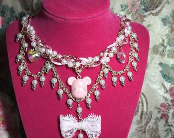 Kawaii Pink Teddy Bear Statement Necklace