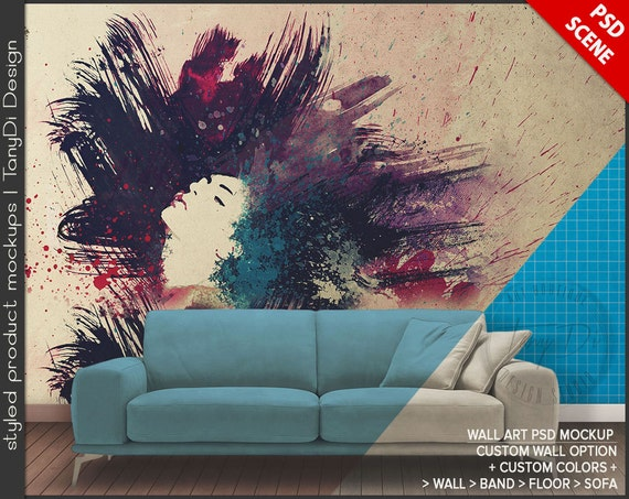 Wall Art Sticker Decal PSD Mockup Styled Living Room