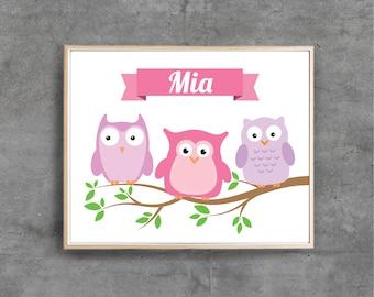 Custom name Owl Printable Art Print, Personalised Digital art, Nursery room decor, Baby Girl / DIGITAL FILE