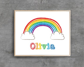 Rainbow Printable Art Print, Custom Name, Nursery Boy Girl Personalised Digital art, Nursery room decor