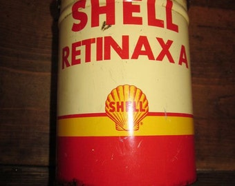 Vintage Shell Retinax A grease oil can