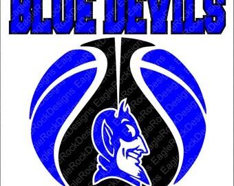 Blue Devils Basketball SVG, EPS, DXF, Cut File for Cameo and Cricut, Blue Devils Svg, Basketball Svg, Basketball Mom Svg, Instant Download