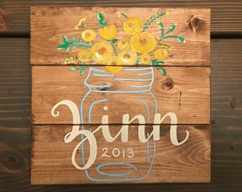 """Hand Painted, """"Family Name"""", Floral, Mason Jar Wood Sign"""