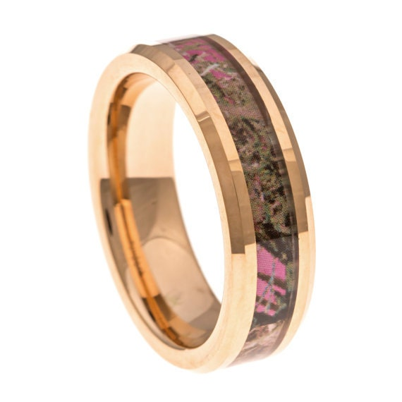 pink camo promise ring gold tungsten thin 6mm