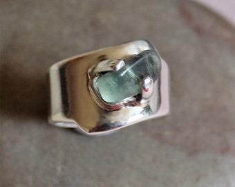 Silver Gemstone Ring - Designer Statement Aventurine Ring - Modern Classic Style