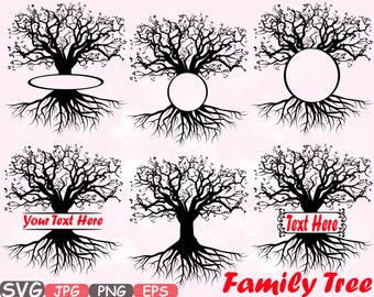 Family tree Split / Circle Silhouette SVG Cutting Files Family Tree Deep Roots Branches monogram Word Art clipart Vinyl Family Is Love -597s