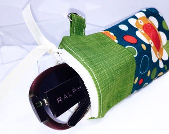 Country Floral Glasses Case, Zip Top Eyeglasses Pouch, Linen Sunglasses Case, Fabric Glasses Case, Soft Eyeglass Case