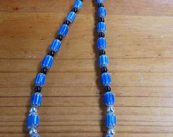 C65  Blue Chevron, Silver And Black Onyx Bead Necklace.   17 Inch