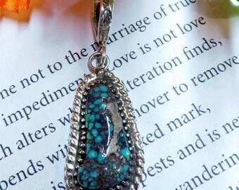 Bright Blue Spiderweb Turquoise Pendant