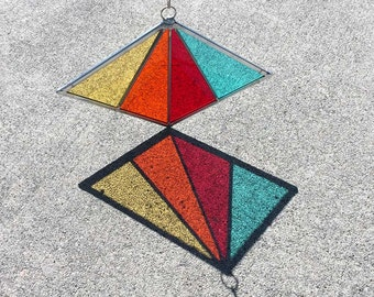 Rainbow Stained Glass Diamond Suncatcher