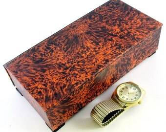 watch box, elegant tortoiseshell look, men's watch box,  gift, men's gift, men's jewelry, ready to ship