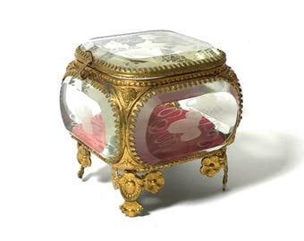Antique Ormolu Jewelry Casket, French Victorian, Etched Beveled Glass, Gold Gilt Trinket Ring Box, 1800s, Vanity Box, Ring Box