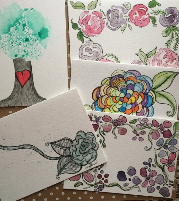 Set of 5 Misc Cards, 5 original hand painted watercolor cards