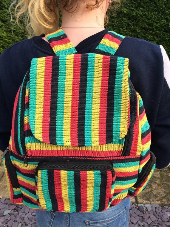 Rainbow Rasta Backpack, Bright Stripe Multicolour Rucksack, Hippy Boho Festival