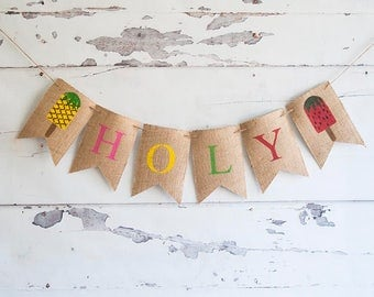 Popsicle Personalized Banner, Ice Cream Banner, Girl Popsicle Decor, Burlap Popsicle Banner, Ice Cream Garland, Ice Cream Decor, B510