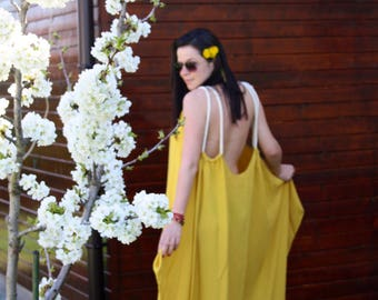 Yellow dress /plus size dress /maxi dress /long dress/cotton dress /backless dress
