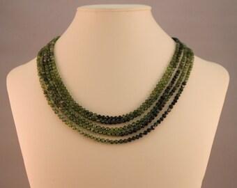 Green Garnet Multi-Strand Beaded Necklace