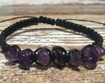 Raw Amethyst Bracelet / Chakra Healing Bracelet / Healing Crystal Bracelet / Raw Crystal Jewelry