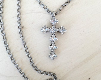 Clear Swarovski Crystal Cross Necklace, Antique Silver