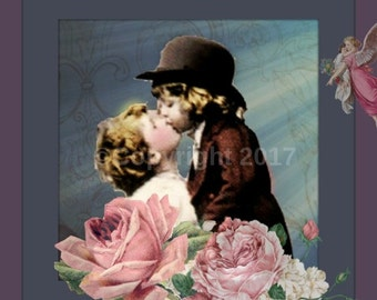 Etsy Banner Cover Victorian First Kiss Children Angels DIY Icon Vintage Girl Child Blank Shop Store Set Flowers Instant Digital Download