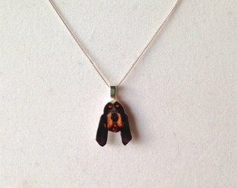 Custom Pet Portrait Sterling Silver 925 Fine Detail Hand Painted Necklace Charity Donation