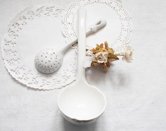 2 White Ironstone Ladles French Soup Tureen Ladle and Condiment Ladle