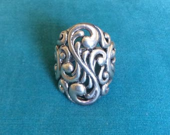 JUST REDUCED Vintage Sterling Silver Large Art Nouveau Ring