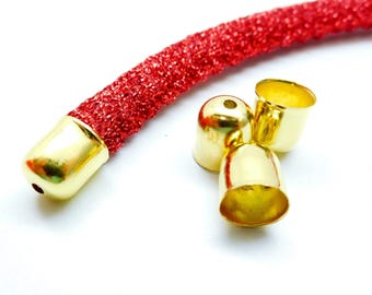 Set of 10 gluing clips for necklace, cord, golden metal color, 8 * 7 mm