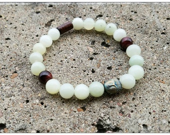 8mm Buddha Jade Prosperity Bracelet. Prosperity and good fortune bracelet. Mala Bead bracelet men's and women's.