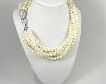 Natural pearl statement necklace, wedding necklace, super statement Genuine  Baroque Pearl Necklace, Statement necklace,