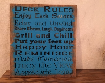 Deck Rules Wooden Sign, Outdoor Sign