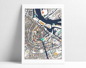 Amsterdam Map, Amsterdam Print, Abstract Art, City Map, Amsterdam Map Poster, Amsterdam Map Print, Amsterdam, Netherlands, Wall Art Decor