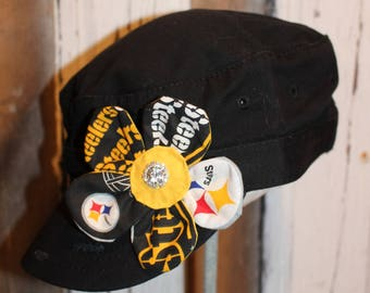 Pittsburgh Steelers flower pin clip.  Hat or hair accessory