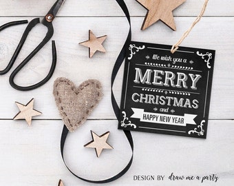 Christmas Tags , Christmas Printable Tags , Merry Christmas and Happy New Year , Christmas Gift Tags , Chalkboard , Instant Download