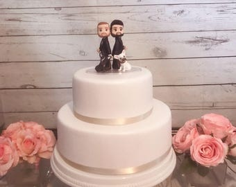 Cute Gay Couple with 2 Puppies Wedding Cake Topper