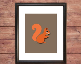 Woodlands - Squirrel - Wall Print - Nursery