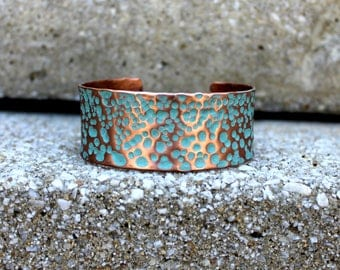 Verdigris Patina Copper Cuff Bracelet, Hammered Copper Cuff Bracelet, Rustic Chic Copper Cuff Bracelet, Simple Earthy Copper Cuff Bracelet