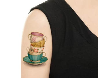 Temporary Tattoo -  Teacups and Saucers - Various Patterns
