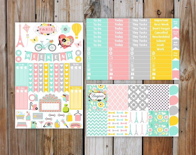 Summer in Paris Planner Sticker DELUXE KIT (7 Pages) | Summer Planner Stickers Kit for use with Erin Condren Life Planner