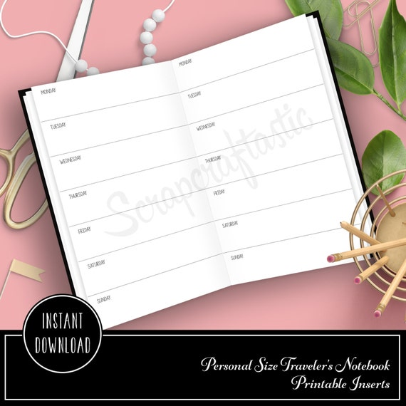 Horizontal Week On One Page Personal Size Traveler's Notebook Printable Planner Inserts Undated