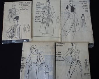 REDUCED - Five French vintage 60's & 70's Modes and Travaux paper sewing patterns for ladies (04745)