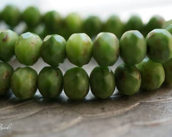 Olive Bliss, Rondelles, Czech Beads, N1651