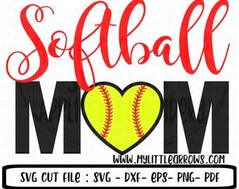 Softball mom svg - softball heart svg - softball svg - softball mama svg - SVG, DXF, EPS, png Files for Cutting Machines Cameo or Cricut