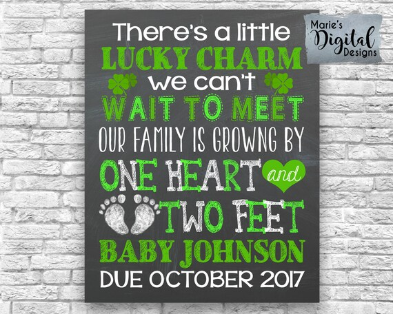 Printable There's A Little Lucky Charm Pregnancy Announcement