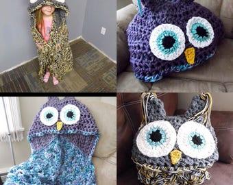 Owl blanket, hooded owl blanket, kids owl blanket, adult owl blanket