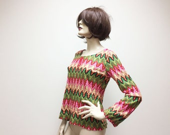 Pink and Green Flame Stitch Psychedelic Missoni-Inspired Top