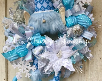 Christmas wreath, blue Christmas wreath, elf wreath with legs, deco mesh wreath, elf wreath, Christmas elf