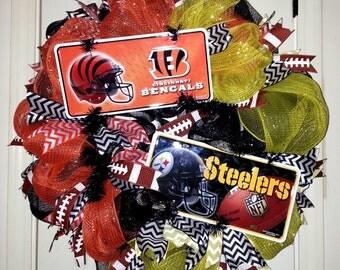House divided wreath, dual team wreath, NFL wreath, Bengals wreath, Steelers Wreath, football door hanger, mesh football wreath